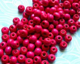 7mm Magenta Wooden Beads - Over 100 - 7mm Glossy Bright Pink Wood Beads, Lead Free (WBD0018)