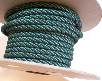Green Cord, Dark Green Braided Cord 1/4 inch x 3 yards, Upholstery Cord
