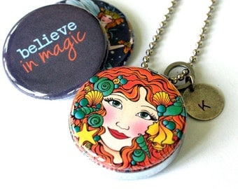 Red Haired Fairy Locket Necklace, Fairy Jewelry, Believe in Magic, Stamped Jewelry, Recycled Steel, Gift for Her, Magnetic, 3 in 1, Polarity
