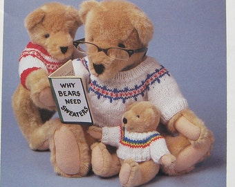 Sweaters For Teddy Bears Knitting Pattern Book