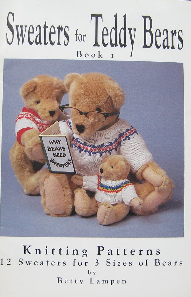 sweaters for teddy bears knitting pattern book from thehowlinghag on etsy studio. Black Bedroom Furniture Sets. Home Design Ideas
