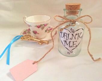 Alice drink me bottle wonderland potion and gold vintage key prop