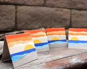 Beach Sunset Torn Paper Art Mini Card Set