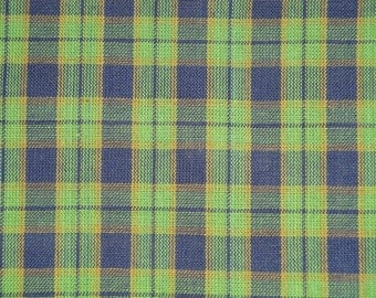 Homespun Material Cotton Navy And Green Plaid 1 Yard