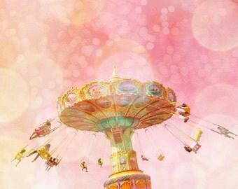 Pink decor, baby girl nursery decor, carnival art, little girl's room dusty rose pink magenta carnival swing pretty in pink nursery decor