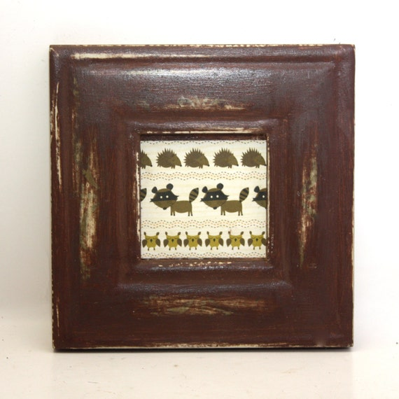 Shabby Wall Hanging Frame Brown with Woodland Critters Owl Raccoon Hedgehog