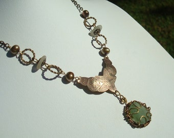 Sea Glass Necklace -Seafoam Green Seaglass -Etched Pendant -Brass Jewelry