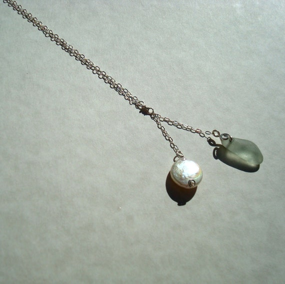 Sea Glass Necklace -Seafoam Seaglass Coin Pearl Drop- Sterling Silver Jewelry