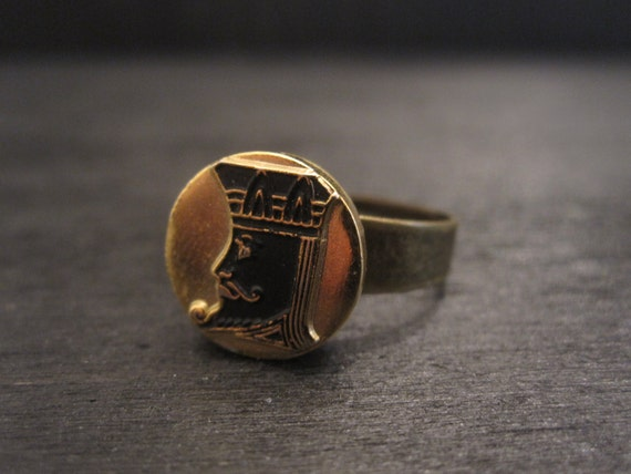 Gold Black King head adjustable ring The King