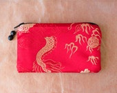 RED DRAGON Silk Brocade Coin Purse