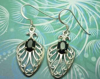 Vintage Sterling Silver Earrings - Black Onyx - Style 17