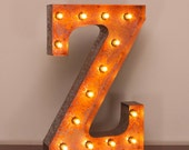 Vintage Marquee Light Rusted Home Decor 24 Inch Letter Z - FREE SHIPPING