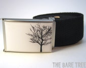 Solitary Black Bare Tree on White background on Matte finish Buckle with Black cotton belt