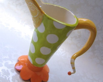 Whimsical Ceramic Pitcher -or- vase tangerine & lime with crazy funky handle