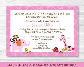 Sweet Safari Jungle Animal Baby Shower Invitation INSTANT DOWNLOAD Editable PDF