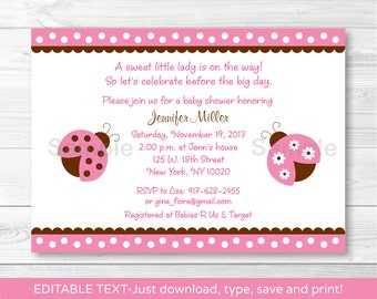 Cute Pink Ladybug Baby Shower Invitation / Ladybug Baby Shower Invite / Pink & Brown / Baby Girl Shower / INSTANT DOWNLOAD Editable PDF