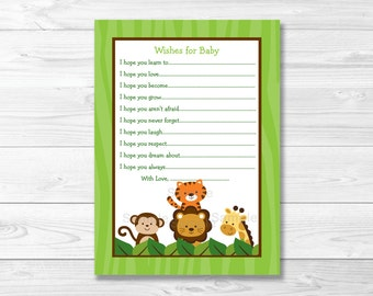 Jungle Animal Wishes for Baby Advice Cards INSTANT DOWNLOAD