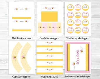 Pink Bumble Bee Baby Shower Party Package INSTANT DOWNLOAD