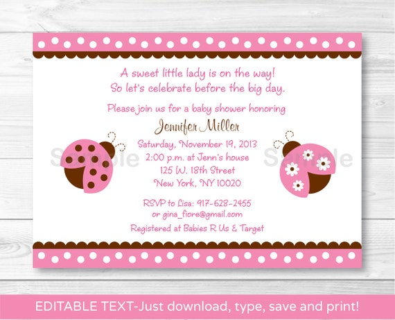 pink ladybug invitations