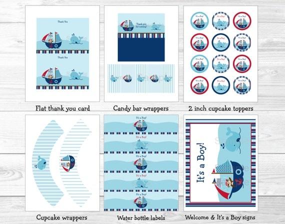 Pirate Monkey Nautical Whale Printable Baby Shower Bingo Cards