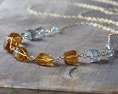 Gold gemstone link necklace ~ citrine, labradorite & moss aquamarine