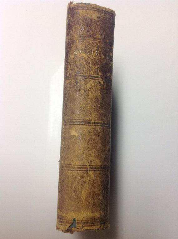 1853 Oeuvres de Moliere - Antique Gilt Leather Volume Paris