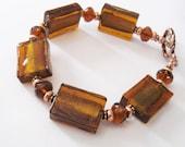 Amber Lampwork Glass Bracelet, Rectangle Beads Gold Foil, Artisan Copper Toggle Clasp, Art Glass Bracelet