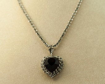 Rhinestone Heart Necklace Deep Red Faceted Heart surrounded with Clear Rhinestones