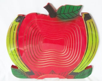Vintage Folding Fruit Bowl - Apples and Bananas - Retro - Collapsible Fruit Basket