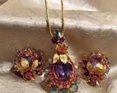 Vintage Crystal Rhinestone Necklace Set
