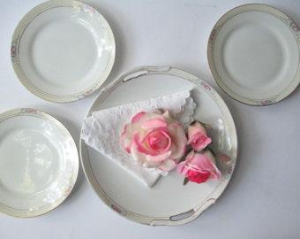 Vintage Plate Set Noritake Nippon The Celtic Pink Blue Cake Plate and Three Dessert Plates