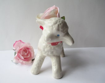 Vintage White Lamb Ceramic Planter - Sweet and Shabby