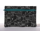 Cathedrals and Castles Zipper Pouch in Black and White