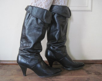 sz 8.5, vintage 1980s Slouch Boots with high heels - black leather, fold down, eighties, glam, rocker,