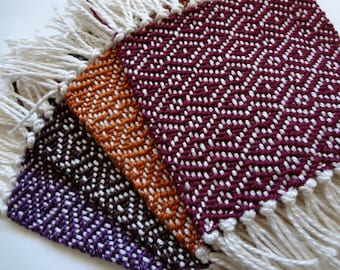 handwoven coasters set of four, autumn colors