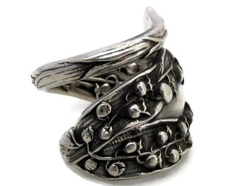 Lily of the Valley Sterling Silver Spoon ring Wrapped size 6 to 16