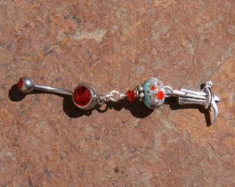 Cowboy Boot N Turquoise Lampwork DeSIGNeR Belly Button Ring Blingy Rodeo Rhinestone Cowgirl
