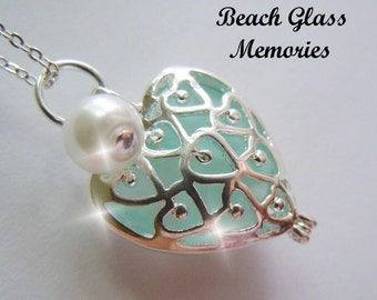 Sea Glass  Heart Locket - Aqua Necklace -  Beach Glass Seaglass Jewelry Pendant Necklace