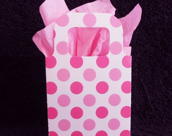 Baby Shower Favor Bags, pink dots, set of 40