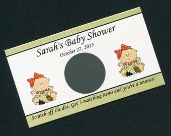 Personalized Scratch Off Cards Baby Shower, baby girl with fall leaves, set of 25
