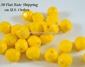 33 Yellow Czech Glass Bead 6mm Fire Polished Faceted Opaque Yellow - 33 pc - G6032-YW33