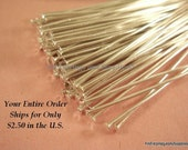 100 Silver Headpins Iron 2 inch (50mm), 18-20 Gauge Plated Iron - 100 pc - F4001HP-S2100 - Select Qty