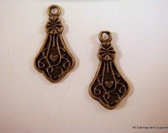10 Antique Brass Fancy Teardrop Charm Earring Drops 15x9mm Single Sided - 10 pc - 6228-12