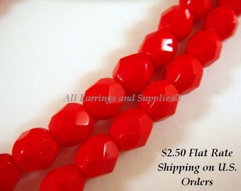 25 Red Czech Glass Bead 6mm Fire Polished Opaque Red Faceted Round - 25 pc - G6035-RD25