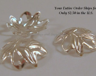 25 Silver Bead Cap Leaf Silver Plated Flower, 10mm - 25 pc - 2504-10