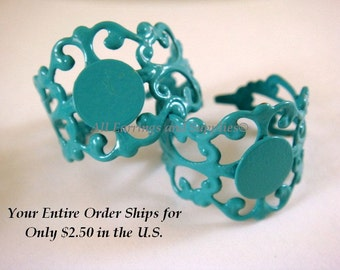 3 Turquoise Ring Blank Base Copper Adjustable 8mm - 3 pc - R8001-T3