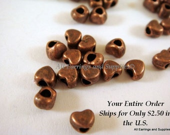 50 Copper Heart Spacer Bead Antique Plated LF/NF 4x3.5mm 1.5mm Opening - 50 pc - M7020-AC50