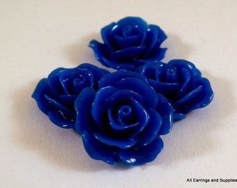 4 Dark Blue Cabochon Flower Opaque 17mm - No Holes - 4 pc - CA2029-DKB4