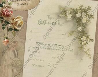 Printable Wedding Certificate Marriage Certificate Instant Download No 3 Vintage Victorian Wedding Digital  Download DIY Wedding Gift
