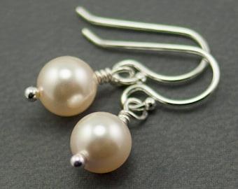 Cream Pearl Earrings June Birthstone Earrings. Swarovski Pearls. Simple Drop Earrings. Ivory Pearl Earrings.  Bridal Jewelry Sterling Silver
